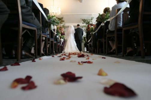 Bride and Groom at end of aisle for Tim Downer Independent Celebrant